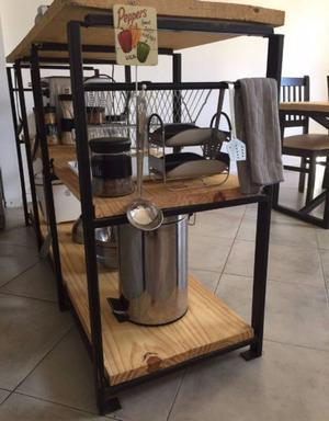 Barra desayunador organizador en hierro y madera