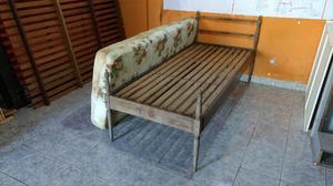 Cama De 1 Plaza De Madera C/colchón De Goma Esp.envios