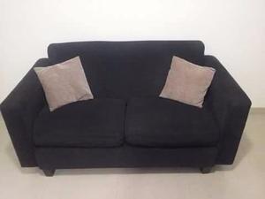 Liquido!!! sillón de chenille negro 2 cuerpos