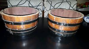 Macetas de madera barril