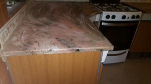Mueble de cocina acero alacena y bajo mesada