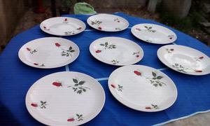 Vendo 8 platos playos grandes de porcelana