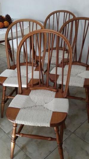 4 sillas estilo windsor madera roble y junco vintage