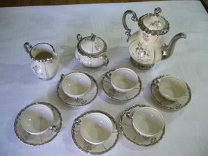 Antiguo Juego De Cafe Porcelana Con Baño En Plata, Año
