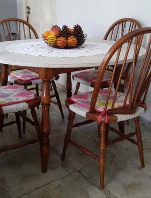 Juego comedor antiguo windsor mesa y 4 sillas roble junco