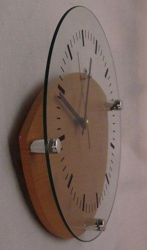 Reloj Pared Frente De Vidrio 28 Cm Diámetro Base De Madera