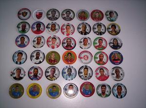 Vendo lote de 91 tazos de metal de futbol brasilero