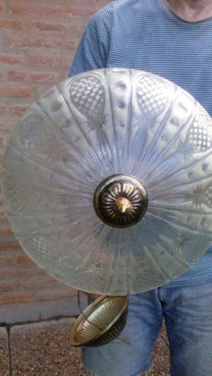 Dueña lámpara colgante vidrio y bronce antigua
