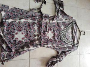 Vestido de fibrana mangas tres cuartas sin uso