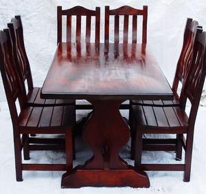 El Restaurador - Juego de comedor de algarrobo con 6 sillas