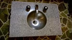 Pileta lavatorio con marmol y bacha de acero inoxidable con