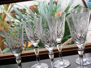 6 bellas copas de cristal