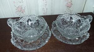 Tazones de cristal tallados