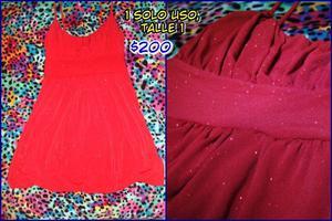 Vestido de Fiesta Rojo con Brillos, Talle 1