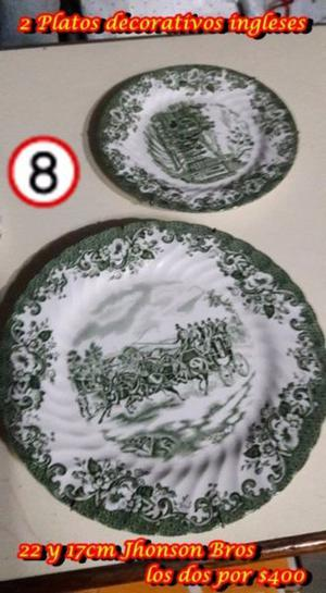 2 Platos decorativos ingleses 22 y 17cm Jhonson Bros,