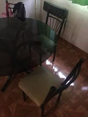 Juego De Comedor Mesa De Vidrio Con 6 Sillas!!!! Imperdible
