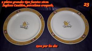2 platos grandes tipo fuentes 28cm Ingleses Cauldon,