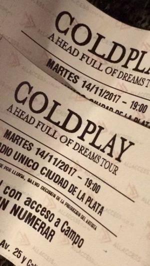 COLDPLAY 2 Entradas CAMPO - Martes