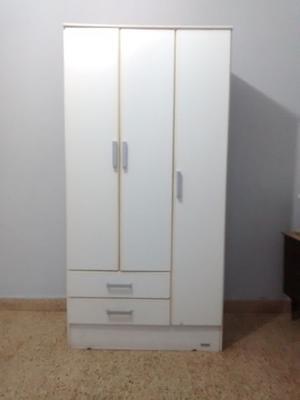 Placard Ropero 3 Puertas 2 Cajones 90 Cm Ancho Blanco