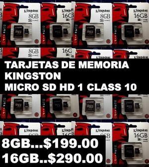 TARJETAS DE MEMORIA KINGSTON MICRO SD HD 1 CLASS 10 - 8GB...