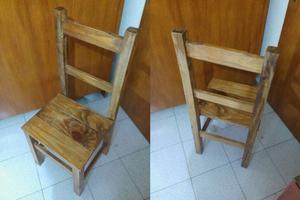 vendo juego de 6 sillas de madera de pino usado