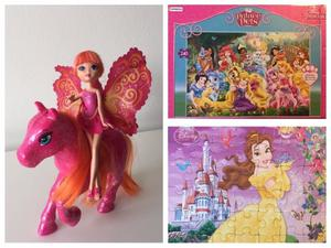 Barbie Mini Hada con Caballo + 2 Rompecabezas Princesas