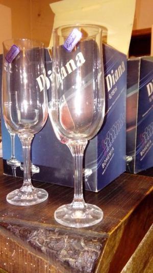 Copas de champagne de cristal Bohemia