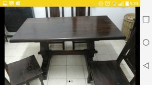 juego de comedor de algarrobo mesa y 4 sillas