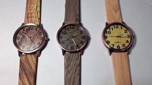 Reloj Pulsera Símil Madera Por Mayor 5 Unidades
