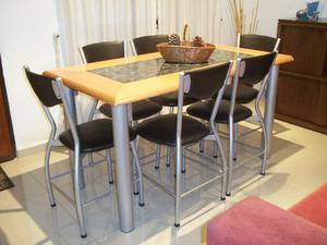 Comedor de caño reforzado 6 sillas !!! Flete sin cargo !!