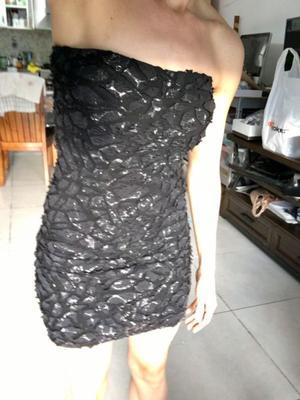 Vestido negro y plateado S