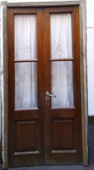 Puerta madera antiguas dos hojas de cedro posot class for Puertas antiguas de madera de 2 hojas