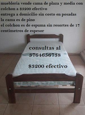 cama de plaza y media con colchon a $