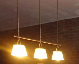 Lampara Colgante De Acero Con 3 Luces