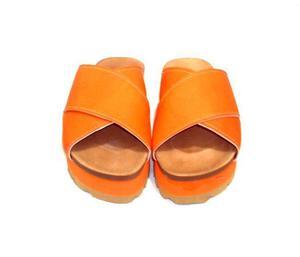 Outlet sandalias con plataforma color naranja de eco cuero