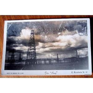 antigua postal pozos de petroleo en el mar foto anny