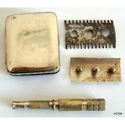gillette afeitadora de viaje en metal plateado completa 5