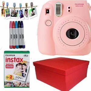 Caja Instax Mini 8 Rosa 20 Fotos Marcadores Broches