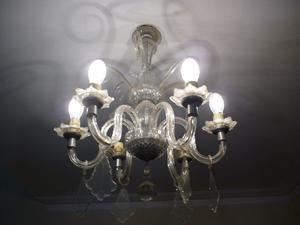 Hermosa Araña antigua de bronce y cristal con caireles 6