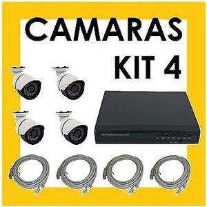 KIT CAMARAS DE SEGURIDAD. 4 CAMARAS HD. DVR HDMI. CABLES.