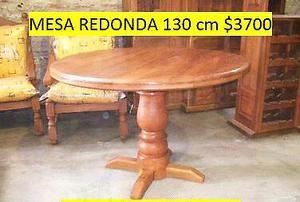 Mesa nueva de algarrobo de 120 cm de diametro y 87 cm de