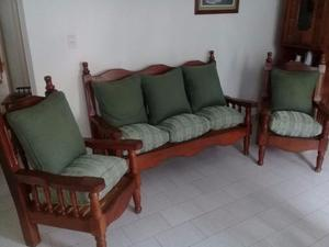 Vendo Juego de Sillones de Algarrobo con almohadones