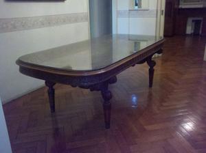 mesa luis XVI con vidrio