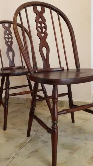 2 sillas windsor antiguas unicas respaldo calado madera