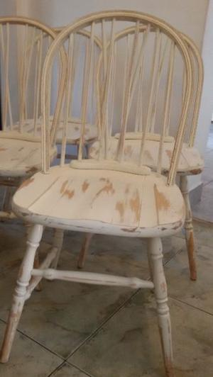 Juego 4 sillas windsor antiguas madera maciza shabby vintage