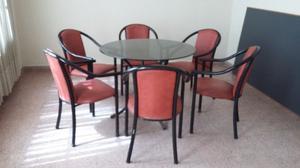 Juego de mesa de vidrio 1m con 6 sillas estilo sillon