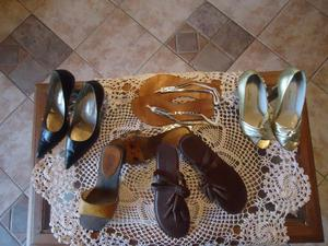zapatos de fiesta Ferraro, ojotas Via Uno de cuero, etc