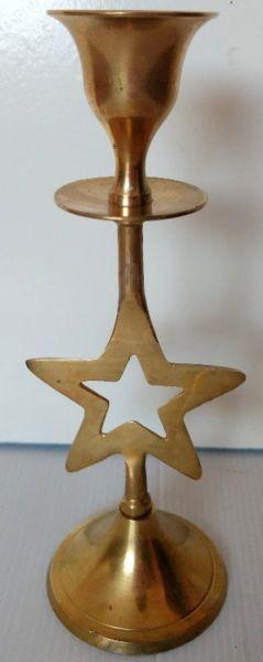 Antiguo Candelabro forma de estrella de Bronce