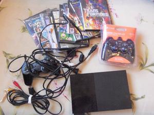 Playstation 2, slim 2 joysticks, memoria y juegos, lista