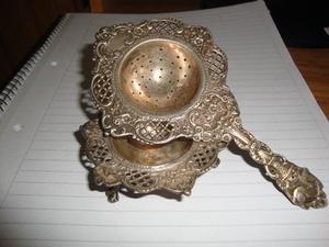 Colador de te de plata maciza antigua